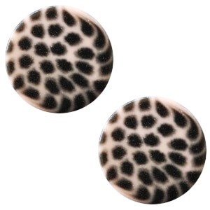 Polaris elements cabochon plat 12mm leopard rosa pink