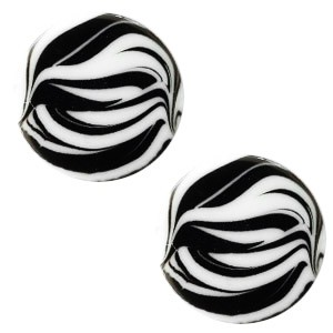 Polaris elements cabochon plat 12mm zebra bianco white