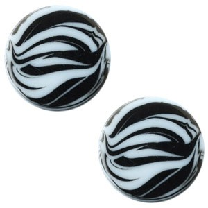 Polaris elements cabochon plat 12mm zebra powder blue