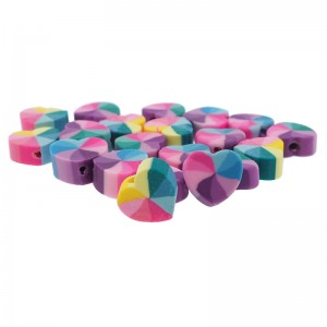 Polymeer hartjes kraal multicolor 10mm (per stuk)