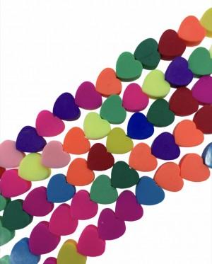 Polymeer hartjes kraal multicolor mix 10mm (per 5 stuk)
