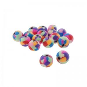 polymeer kraal multicolor 8mm (per stuk)