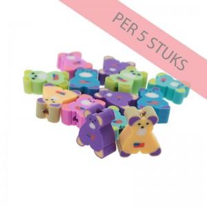 Polymeer kralen beren multicolour 12mm (per 5 stuks)