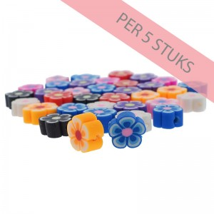 Polymeer kralen bloem multicolour 7mm (per 5 stuks)
