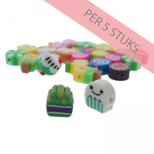 Polymeer kralen candy crush multicolour 7-12mm (per 5 stuks)