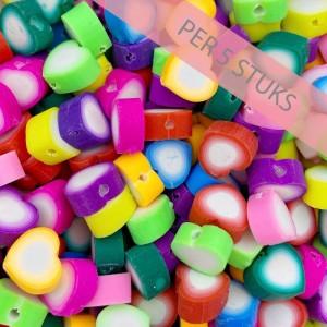 Polymeer kralen hartjes multicolour wit 10mm (per 5 stuks)