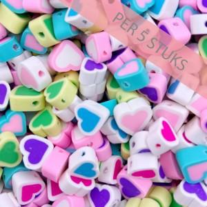 Polymeer kralen hartjes multicolour wit 9mm (per 5 stuks)