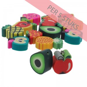 Polymeer kralen mixed fruit 1 multicolour 8-14mm (per 5 stuks)