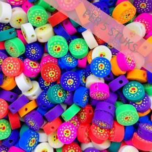 Polymeer kralen ronde smileys multicolour wit 9mm (per 5 stuks)