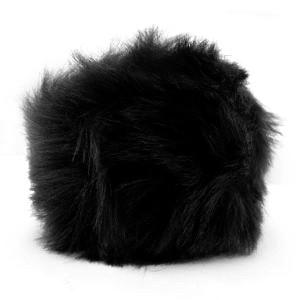 Pompom bedel (groot) met oog faux fur 8cm black