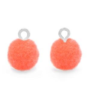 Pompom bedel met oog 10mm coral pink zilver