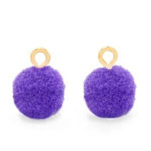 Pompom bedel met oog 10mm purple goud