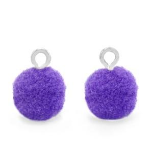 Pompom bedel met oog 10mm purple zilver