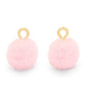 Pompom bedel met oog 10mm soft pink goud