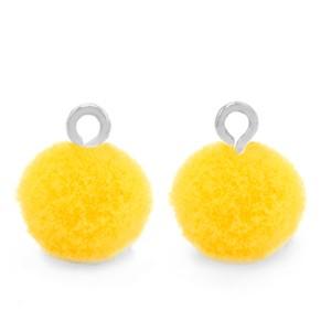 Pompom bedel met oog 10mm sunshine yellow zilver
