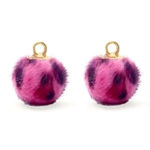 Pompom bedel met oog 12mm faux fur leopard neon-pink