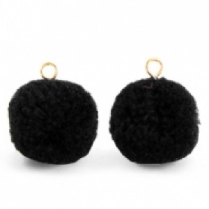 Pompom bedel met oog 15mm black gold