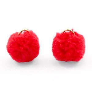 Pompom bedel met oog 15mm fiery red