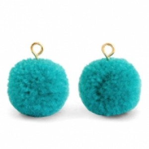 Pompom bedel met oog 15mm jungle green gold