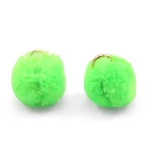 Pompom bedel met oog 15mm neon green
