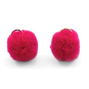 Pompom bedel met oog 15mm raspberry wine red