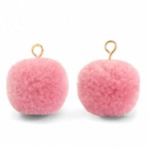 Pompom bedel met oog 15mm rouge pink gold