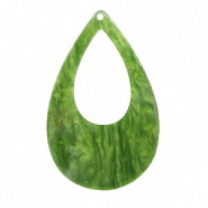 Resin hangers open druppel olive green 57x36mm (per stuk)