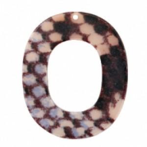 Resin hangers open ovaal snake mat grey-dark blue 48x40mm (per stuk)