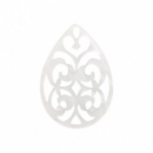 Resin hangers ovaal barok bright white 42x30mm (per stuk)