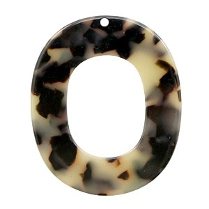Resin hangers creme black 48x40mm (per stuk)