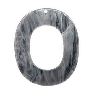 Resin hangers ovaal grey 48x40mm (per stuk)