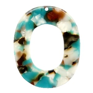 Resin hangers ovaal turquoise brown 48x39mm (per stuk)