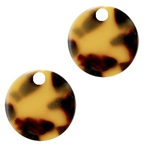 Resin hangers rond cognac brown 19mm (per stuk)