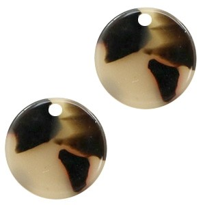 Resin hangers rond creme black 12mm (per stuk)