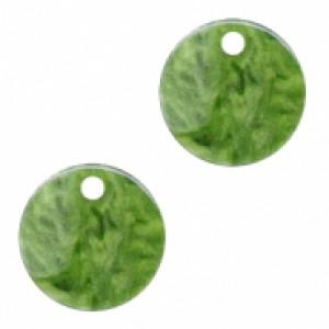 Resin hangers rond olive green 12mm (per stuk)