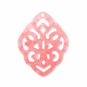 Resin hangers ruit barok living coral pink 42x30mm (per stuk)