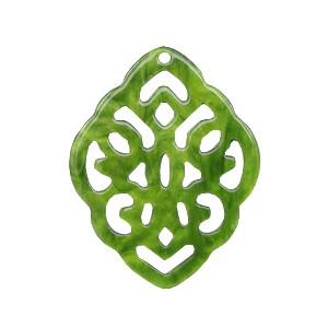 Resin hangers ruit barok olive green 42x30mm (per stuk)