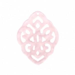 Resin hangers ruit barok powder pink 42x30mm (per stuk)