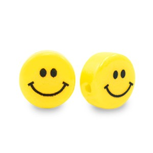 Resin kraal smiley rond geel 8mm