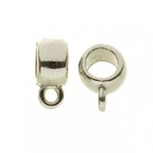 Ring met oog rond zilver 6x8mm (voor meerdere koorden leer)