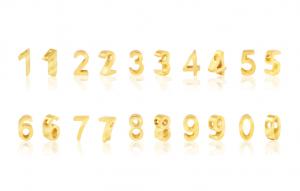 Roestvrij stalen (RVS) Stainless steel kralen cijfer 0- 9 goud