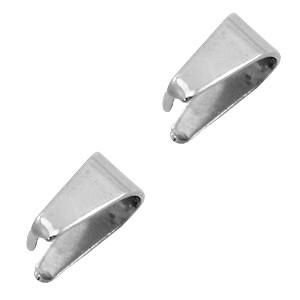 Roestvrij stalen (RVS) Stainless steel onderdelen buighanger ovaal voor bedel 9x5.5mm zilver