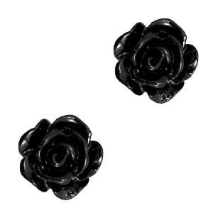 Roosjes kralen 10mm zwart