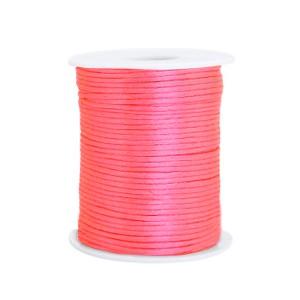 Satijn koord rond 1.5mm fluor pink (per meter)