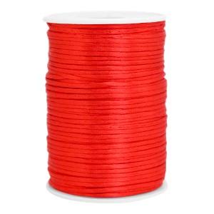 Satijn koord rond 2.5mm flame scarlet red (per meter)