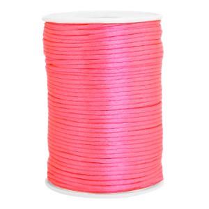 Satijn koord rond 2.5mm fluor pink (per meter)