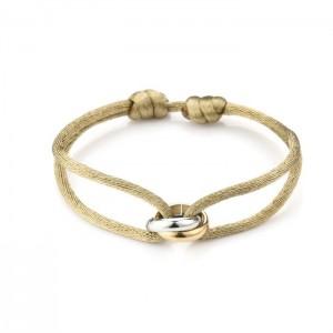 Satijnen armband goud met zilver verbonden cirkels stainless steel khaki