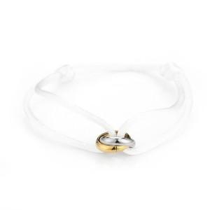 Satijnen armband goud met zilver verbonden cirkels stainless steel wit