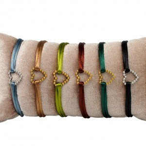 Satijnen armband hart stainless steel mix colors 1