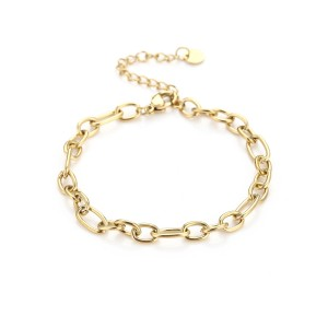 Schakelarmband chunky chain stainless steel goud(16+3cm)